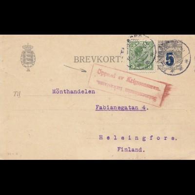 Dänemark: 1919: Ganzsache Faaborg nach Finland - Kriegszensur
