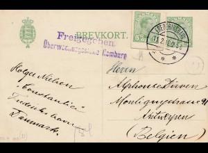 Dänemark: 1918: Ganzsache von Frederikshavn nach Belgien: Überwachung Hamburg