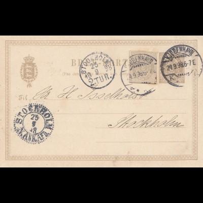 Dänemark: 1898: Ganzsache von Kopenhagen nach Stockholm