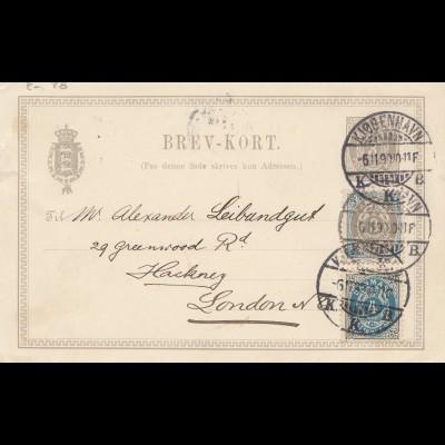 Dänemark: 1899: Kopenhagen Ganzsache nach London