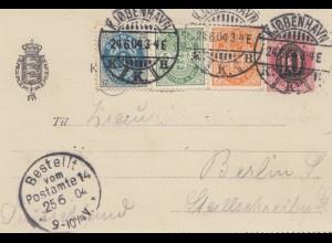 Dänemark: 1904: Ganzsache Kartenbrief mit Inhalt von Kopenhagen nach Berlin