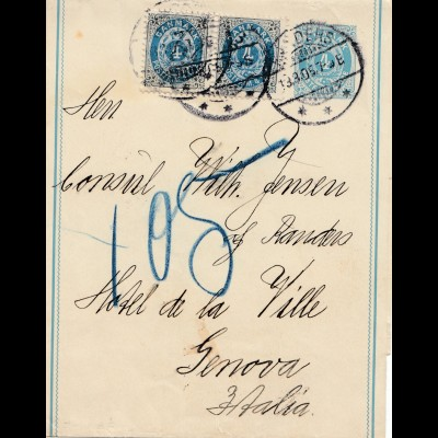 Dänemark: 1905: Streifband nach Genova/Italien