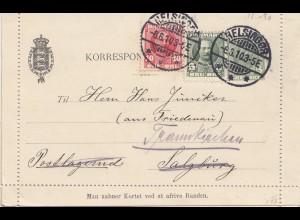 Dänemark: 1910: Kartenbrief von Helsingor nach Österreich, mit Textinhalt