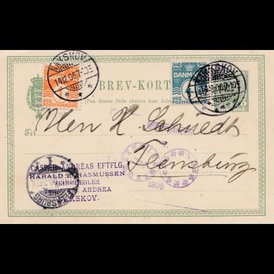 Dänemark: 1906: Ganzsache von Nakskov nach Flensburg/D