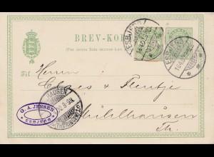 Dänemark: 1900: Ganzsache von Esbjer nach Deutschland