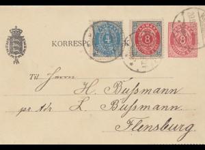 Dänemark: 1899: Ganzsachen Kartebrief mit Text nach Flensburg