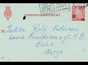 Dänemark: 1964 Kartenbrief von Kopenhagen nach Oslo mit Textinhalt