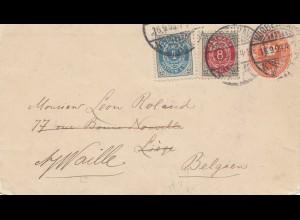 Dänemark: 1899: Ganzsache von Kopenhagen nach Belgien; Wz 2 oder 3
