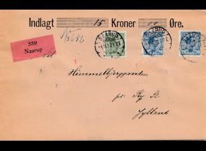 Dänemark: 1920: Wertbrief Naarup nach Ry