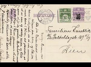 Dänemark: 1927: Postkarte von Kopenhagen nach Wien