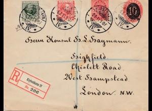 Dänemark: 1911: Brief als Einschreiben von Kopenhagennach London