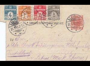 Dänemark: 1912: Ganzsache Kartenbrief Allinge nach Deutschland