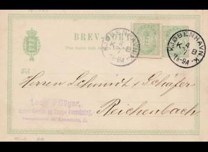 Dänemark: 1894: Kopenhagen als Ganzsache nach Reichenbach