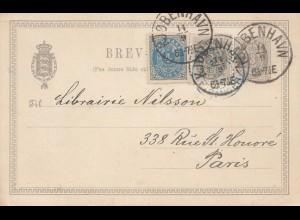 Dänemark: 1889: Ganzsache Kopenhagen nach Paris
