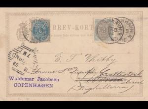 Dänemark: 1893: Ganzsache von Kopenhagen nach England