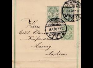 Dänemark: 1898: Streifband Kopenhagen nach Leipzig