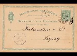 Dänemark: 1882: Ganzsache nach Leipzig