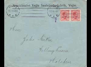 Dänemark: 1918: Brief aus Vejle nach Holsten