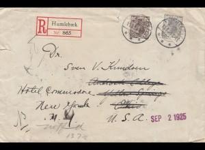 Dänemark: 1925: Einschreiben Humlebaek nach USA