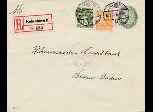 Dänemark: 1929: Einschreiben Kopenhagen nach Baden-Baden