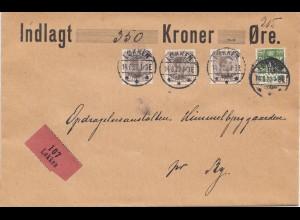 Dänemark: 1922: Wertbrief von Lokkein nach Ry