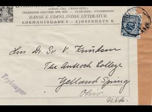 Dänemark: 1926: Päckchenausschnitt von Kopenhagen nach USA