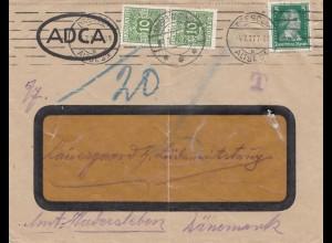 Dänemark: 1927: Dresden nach Dänemark: Taxe-Nachporto