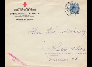 Dänemark: 1917: Croix Rouger de russie/Kopenhagen nach Halle/D