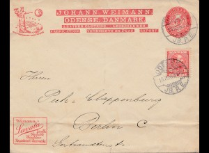 Dänemark: 1908: Brief nach Berlin: Lavala: Waschbar