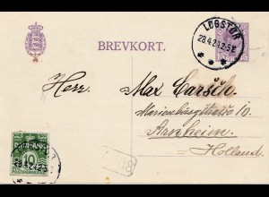 Dänemark: 1924: Postkarte Logstor nach Arnheim