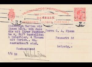 Dänemark: 1919: Ganzsache nach Leipzig