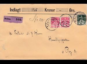 Dänemark: 1913: Wertbrief Hadsten nach Ry