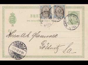 Dänemark: 1898: Ganzsache von Kopenhagen nach Deutschland