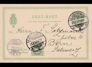 Dänemark: 1897: Ganzsache von Kopenhagen nach Bern/Schweiz