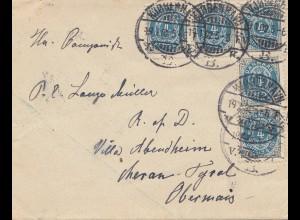 Dänemark: 1902: Brief nach Meran/Tyrol