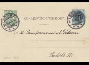 Dänemark: 1904: Ganzsache-Kartenbrief von Sors mit Textinhalt