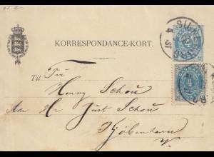Dänemark: 1895: Ganzsache-Kartenbrief von Silkeborg