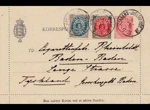 Dänemark: 1896: Ganzsache Kartenbrief nach Deutschland