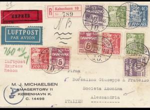 Dänemark: 1942: Luftpost-Eil-Einschreiben Kopenhagen - Italien