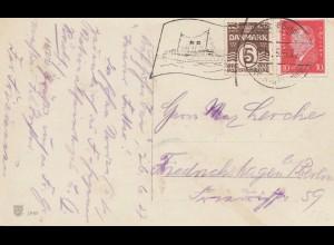 Dänemark: 1928: Geburtstagskarte mit Werbestempel Schiff nach Berlin