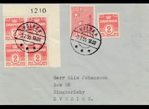 Dänemark: 1955: Brief Holbek nach Schweden