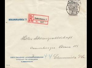 Dänemark: 1928: Einschreiben Kopenhagen nach Chemnitz; Perfin