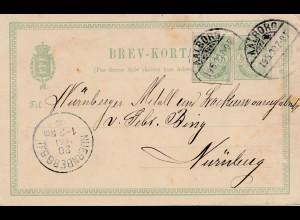 Dänemark: 1900: Ganzsache Aalborg nach Nürnberg