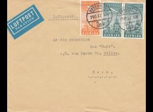 Dänemark: 1932: Luftpost Kopenhagen nach Bern/Schweiz