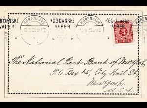 Dänemark: 1926: Postkarte Kopenhagen nach USA; Perfin1