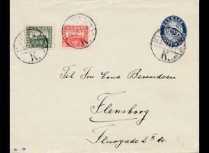 Dänemark: 1921: Ganzsachen Umschlag nach Flensburg