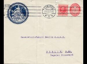 Dänemark: 1909: Ganzsachen Brief von Esbjerg nach Berlin-Sauerstoff Fabrik