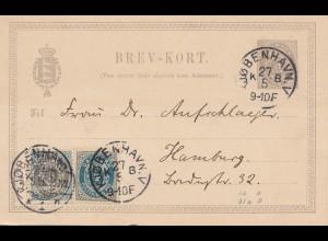 Dänemark: 1896: Ganzsache Kopenhagen nach Hamburg