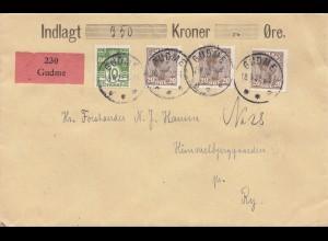 Dänemark: 1922: Wertbrief von Gudme nach Ry