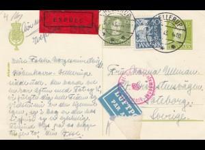 Dänemark: 1943: Eilboten-Luftpost Hellerup nach Schweden